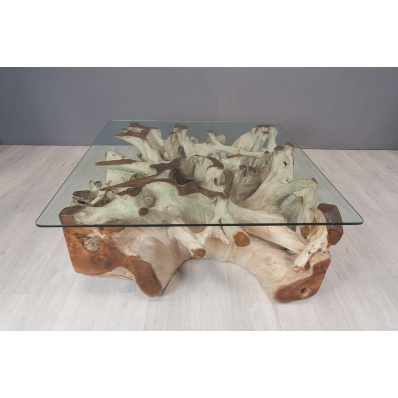 Table basse carrée en racine de teck 100 X 100 cm