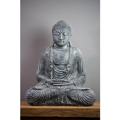 Statue Bouddha Dhyãna mudrã 55 cm gris