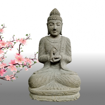 Statue Bouddha mudrã dharmachakra en pierre 120 cm