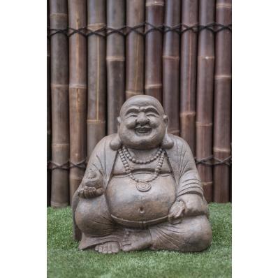 Statue Happy Bouddha 60 cm marron antique