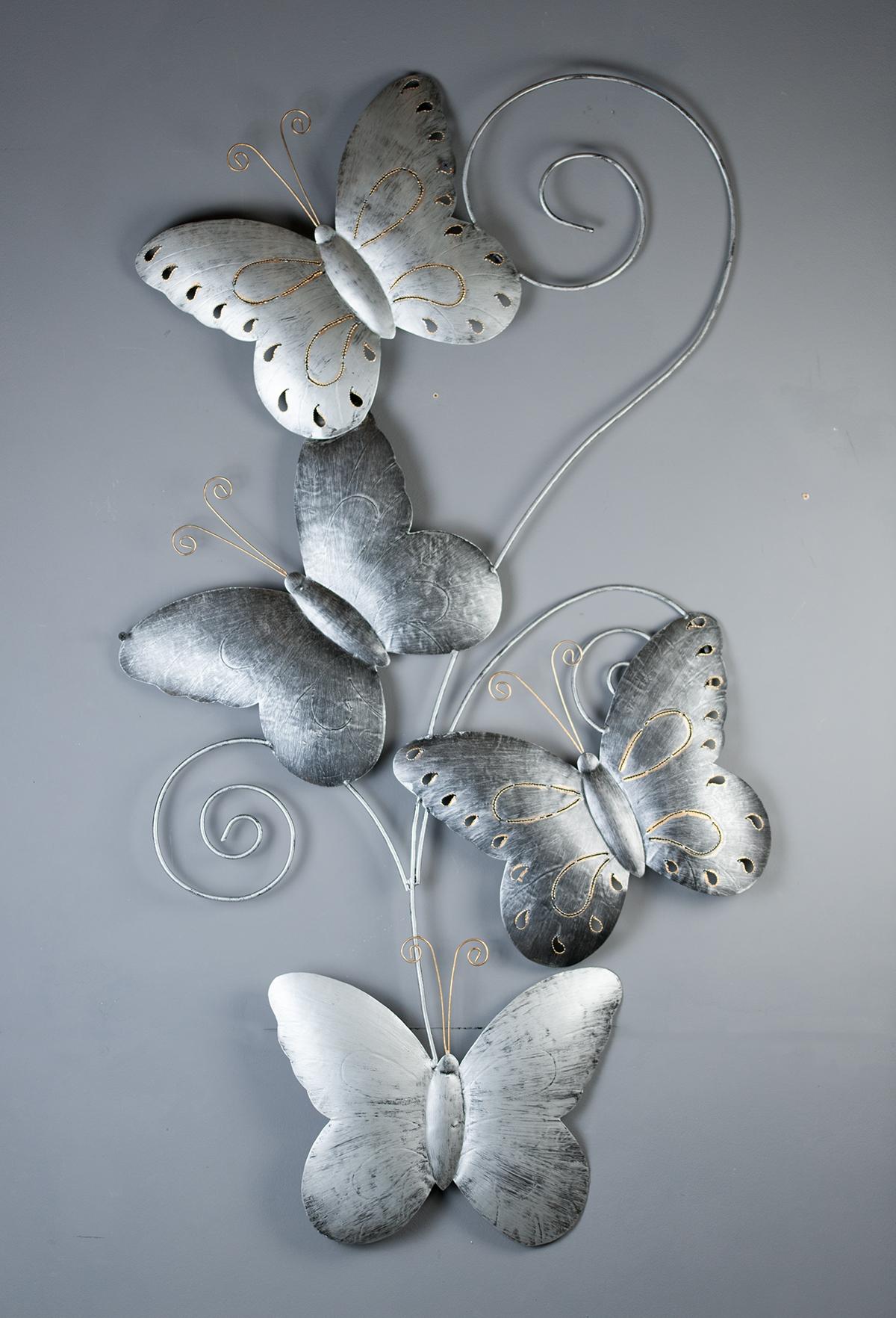 d co design d coration murale en m tal 4 papillons. Black Bedroom Furniture Sets. Home Design Ideas