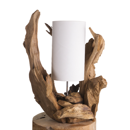 Lampe poser en racine de teck abat jour cru luminaire - Abat jour maison du monde ...