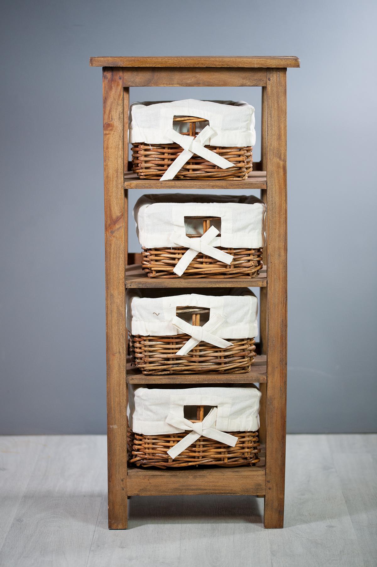 meuble colonne en bois exotique 4 paniers sur containers. Black Bedroom Furniture Sets. Home Design Ideas
