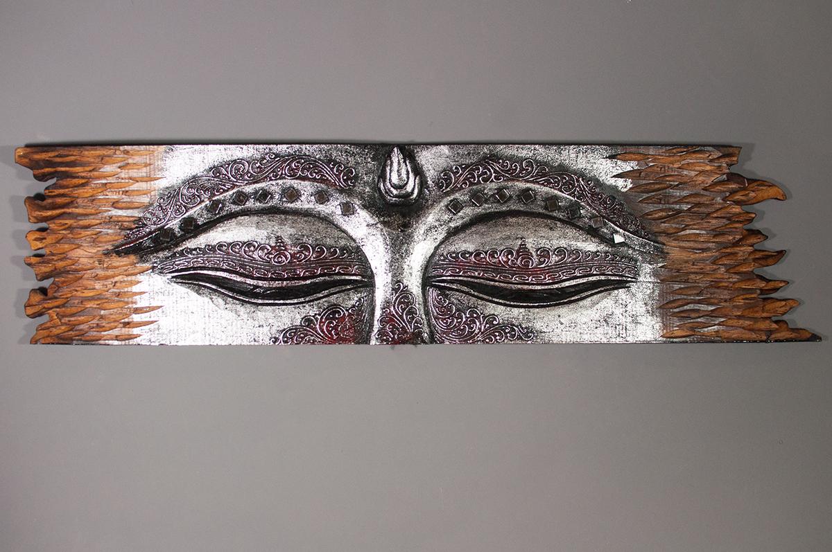 panneau d cor panneau mural bois sculpt les yeux de bouddha. Black Bedroom Furniture Sets. Home Design Ideas