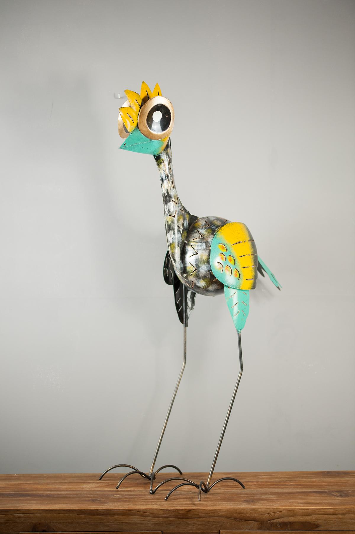 Déco tendance Sculpture oiseau en métal jaune et vert