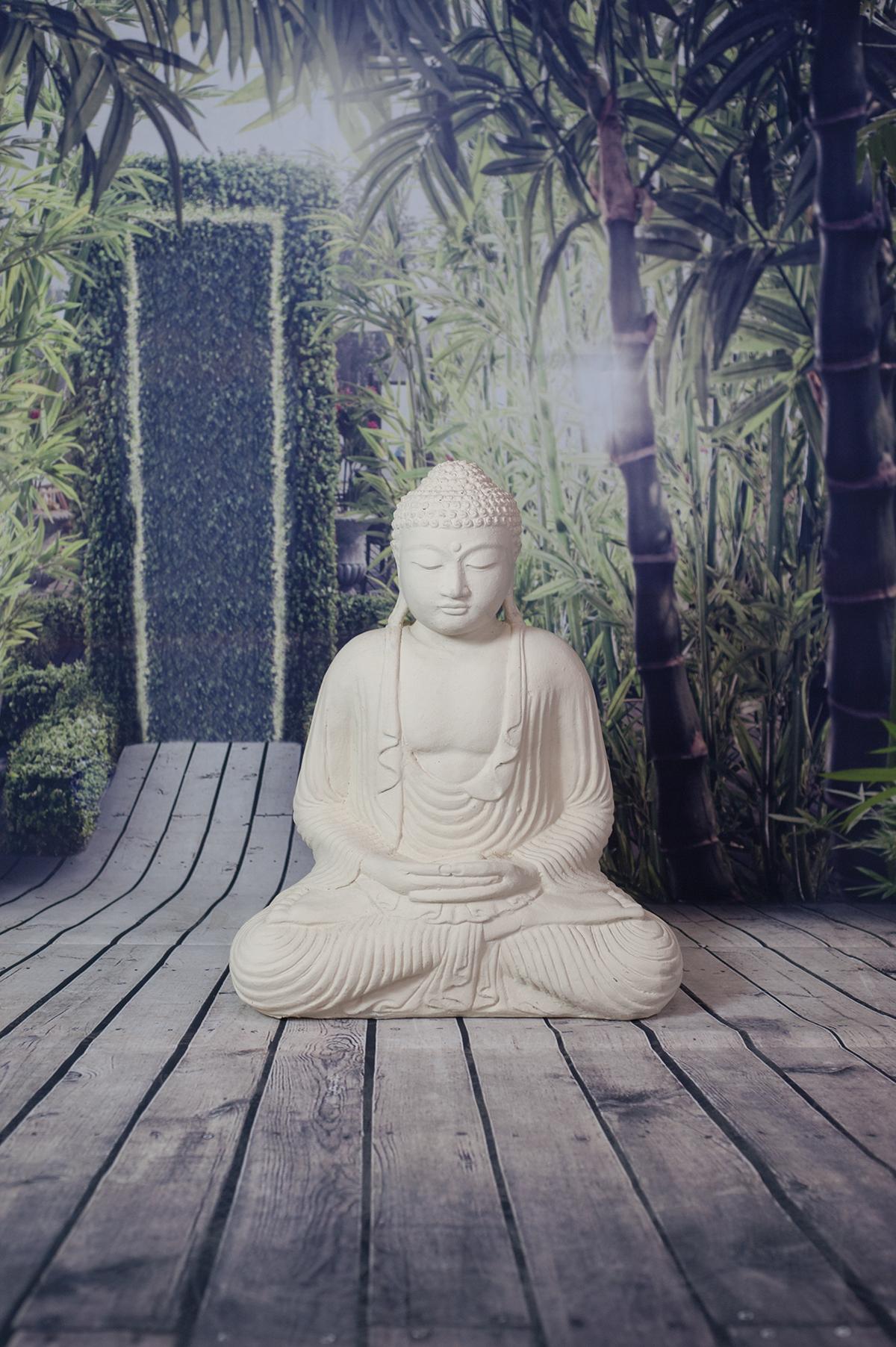 statue bouddha dhyana mudra 55 cm blanc. Black Bedroom Furniture Sets. Home Design Ideas