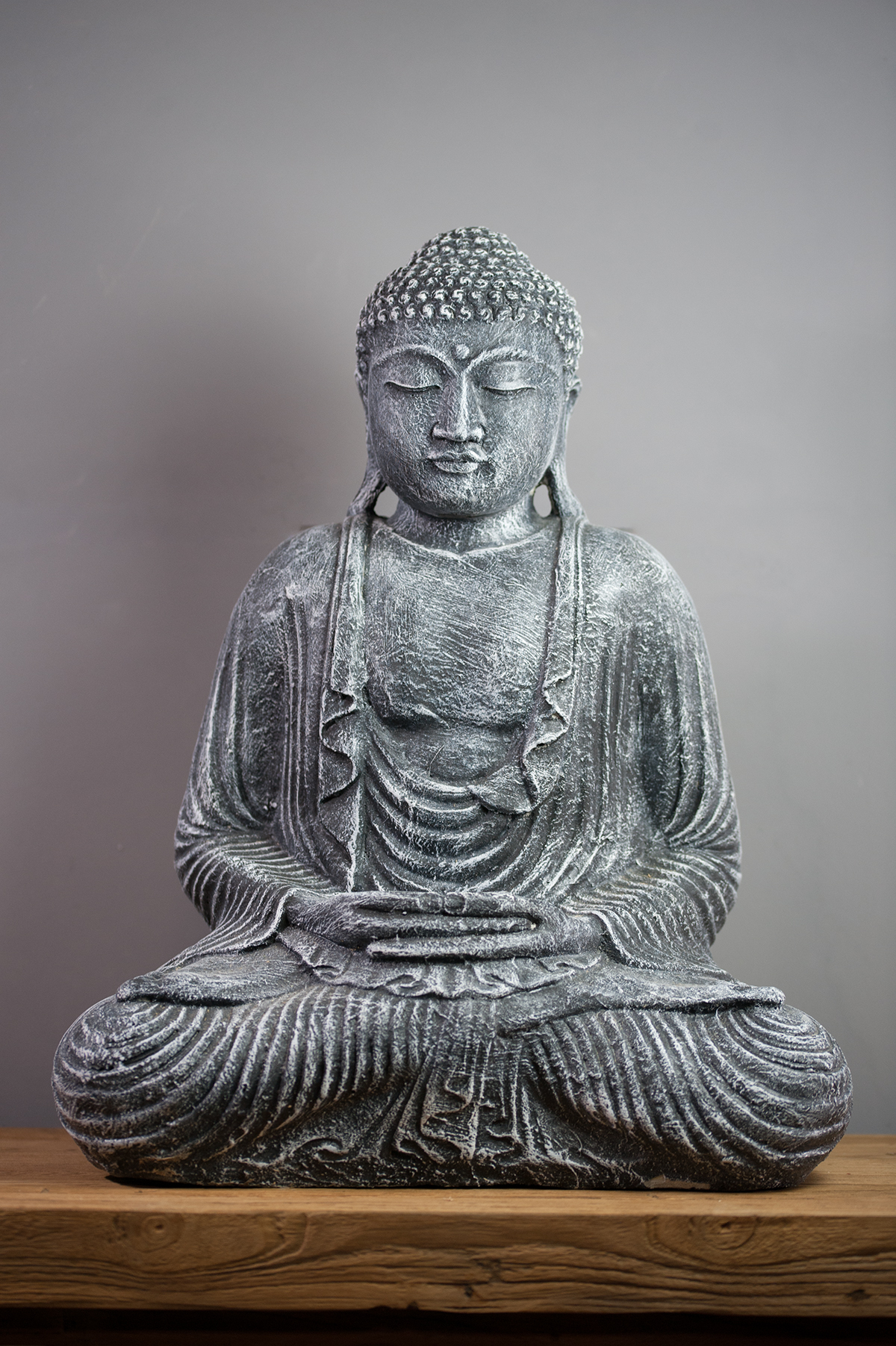 Exceptionnel Statue Bouddha Dhyana mudra 55 cm gris LH98