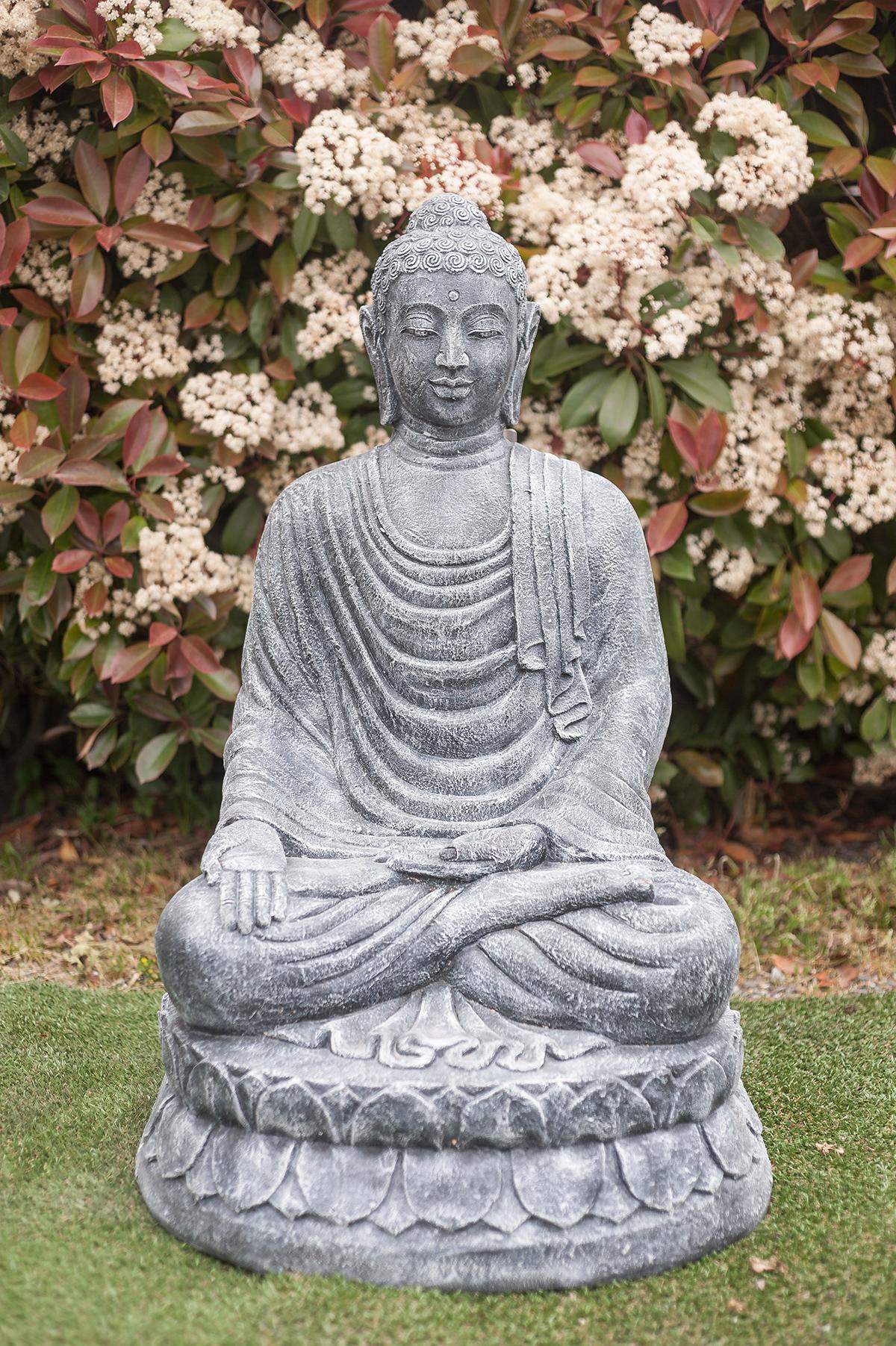 statue bouddha varada mudra 100 cm gris. Black Bedroom Furniture Sets. Home Design Ideas