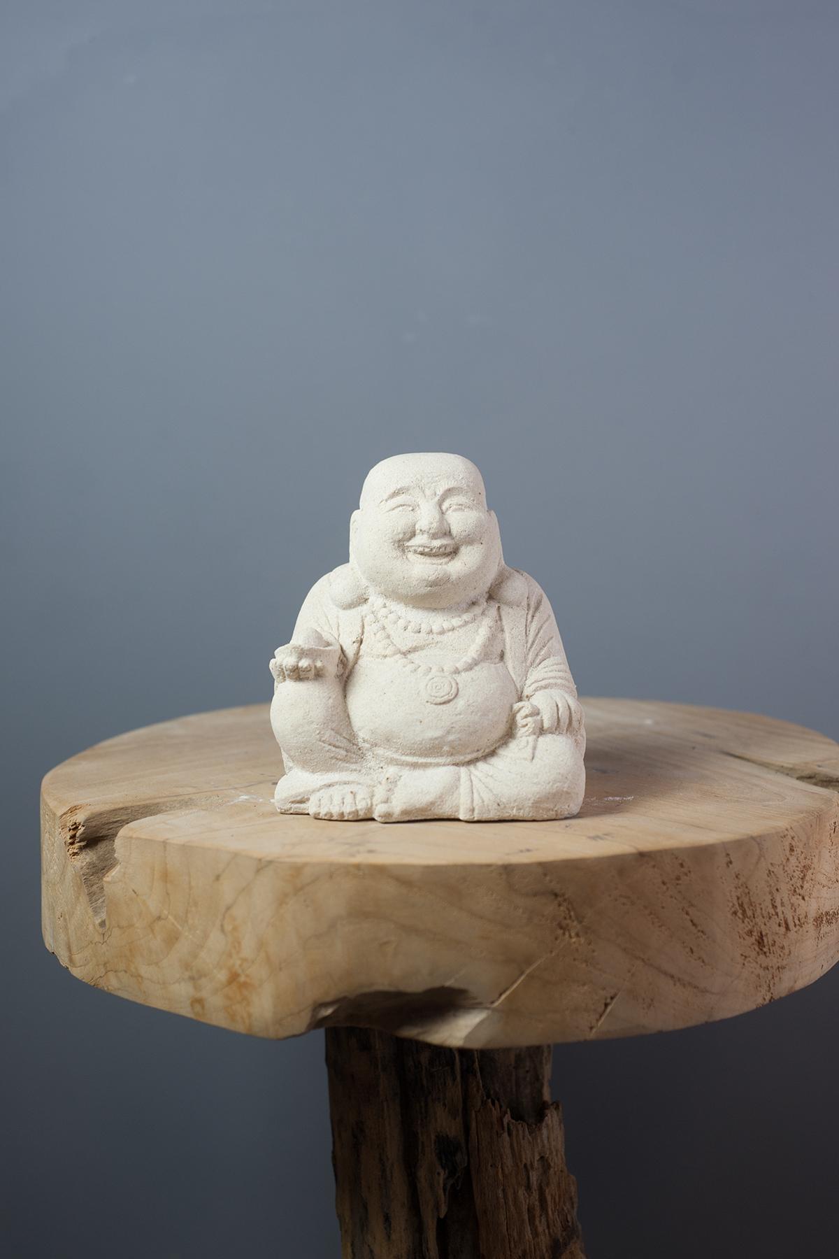 statuette bouddha rieur 15 cm en ciment blanc. Black Bedroom Furniture Sets. Home Design Ideas