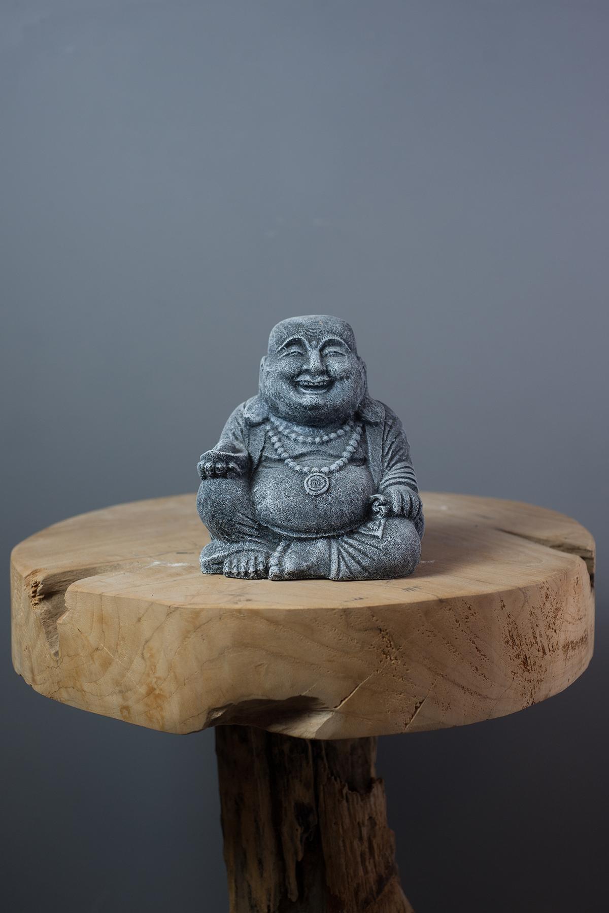 statuette bouddha rieur 15 cm en ciment gris sur containers du monde. Black Bedroom Furniture Sets. Home Design Ideas