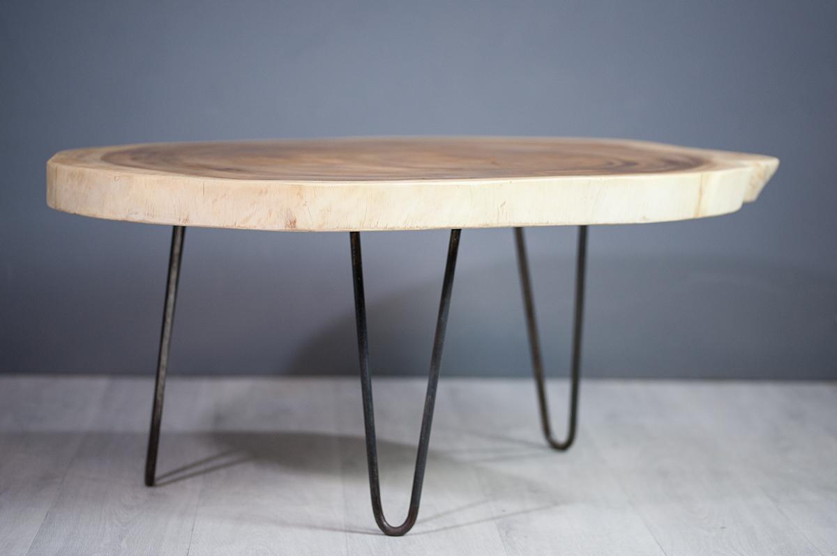 Meuble Salon Table Basse En Bois De Suar Pietement Metal