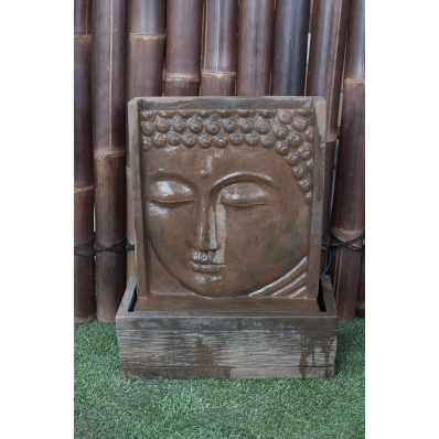 Fontaine mur d'eau visage de Bouddha 62 cm marron antique