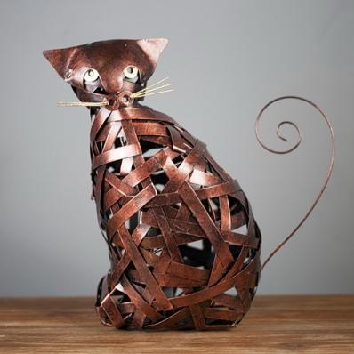 Sculpture chat en métal tressé bronze
