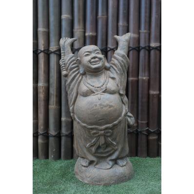 Statue Bouddha rieur debout 100 cm Marron antique